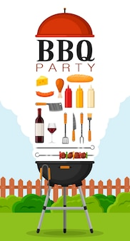 Bbq party poster invitation with grill and food. barbecue grill elements set