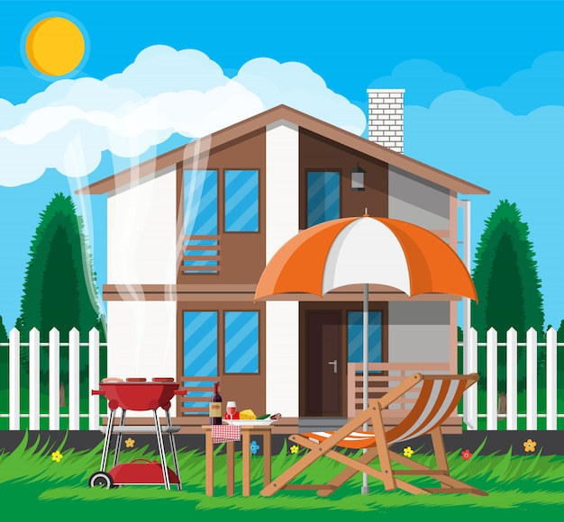 Bbq party. sun lounger, table with bottle of wine, vegetables and cheese, electric grill with barbecue and umbrella. cooking steak, meat and sausages, grilling bbq. illustration flat style