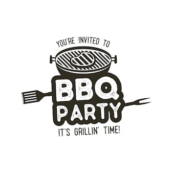Bbq party typography poster template in retro old style.