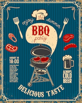 Bbq party vintage flyer on grunge background. grill with kitchen tools, steaks, sausage.