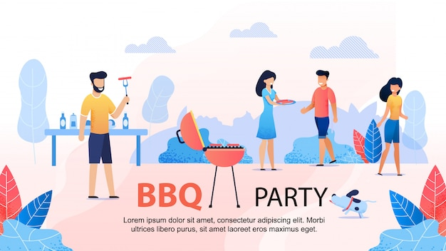 Bbq party с друзьями мотивационный плоский баннер