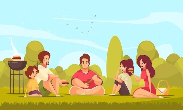 郊外の風景とバーベキューを食べる子供と大人の落書きスタイルのキャラクターとバーベキューピクニックの構成