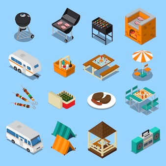 Bbq picnic isometric set