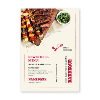 Bbq picnic meat on skewers poster