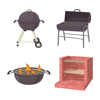 Bbq place tool icon set