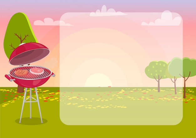 Bbq poster with nature frame