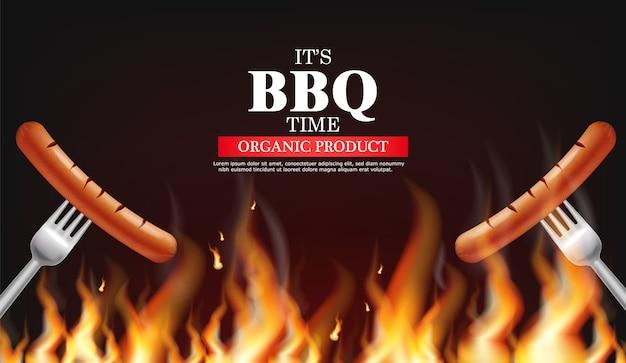 Bbq sausage on fire
