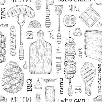 バーベキューのシームレスなパターン、グリル料理のスケッチスタイルのバーベキューの背景。ミートステーキ、ビーフケバブ、魚、ソーセージ、リブ。バーベキュー落書き手描きイラスト。