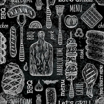 Bbq seamless pattern, black barbecue background in sketch chalkboard style with grill food. meat steak, beef kebab, fish, sausage, rib. barbeque menu.