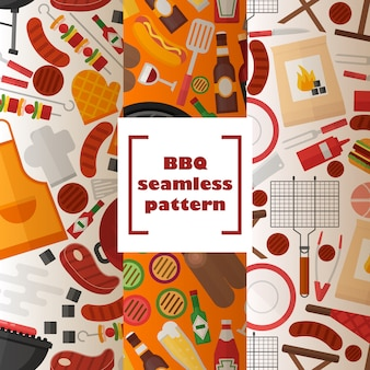 Bbq seamless pattern grilled food and accessories