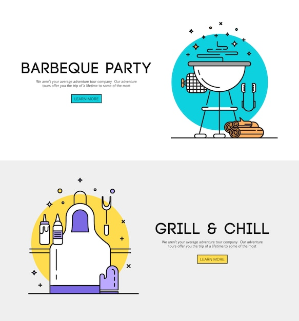 Free BBQ season opening party announcement flat poster with