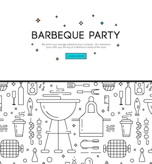 Bbq season opening party announcement flat poster with barbeque accessories