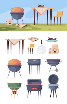 바베큐 스탠드. 음식 벡터 바베큐 마당을 위한 여름 야외 파티 주방 용품에서 피크닉 그릴 스테이크. 바베큐 피크닉, 바베큐 그릴 스테이크, 굽고 요리 그림