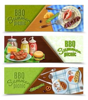 Bbq summer picnic banners set