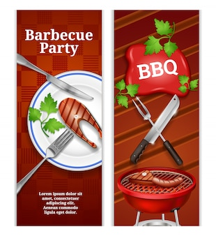 Bbq vertical banners with juicy steak on plate and grilled meat products on barbecue