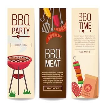 Bbq vertical promotion banner set