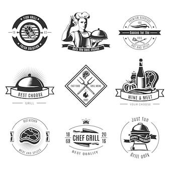 Logo vintage bbq impostato con griglia di pesce soluzioni fresche solo migliori bistecche e descrizioni est