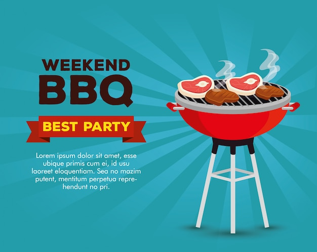 Bbq weekend party invitation
