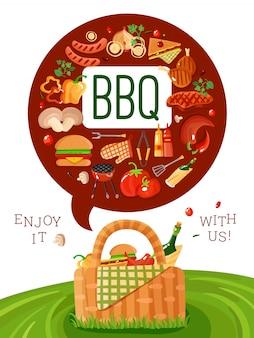 Bbq пикник плоский пригласительный плакат