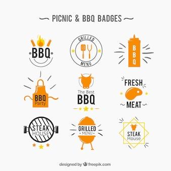 Пикник и bbq значок коллекции