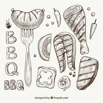 Ручная коллекция элементов bbq в простом стиле