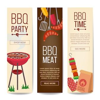 Bbq вертикальный набор рекламных баннеров