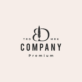 Bd буква марка перо перо чернила битник старинный логотип шаблон