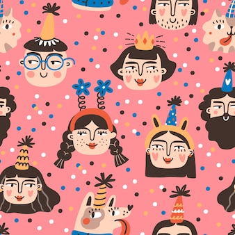 Bday boys and girls characters in cone hats, seamless pattern. birthday anniversary party.