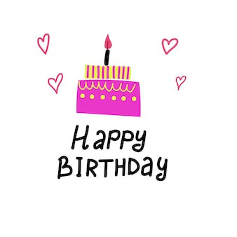Bday cake with candle celebration  card vector illustration