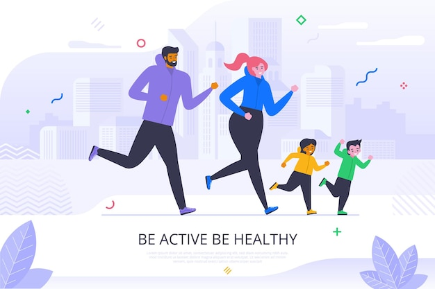 Be active and healthy flat banner vector template. adults and kids in sportswear cartoon characters. family sport, physical training poster. parents and children jogging illustration with typography