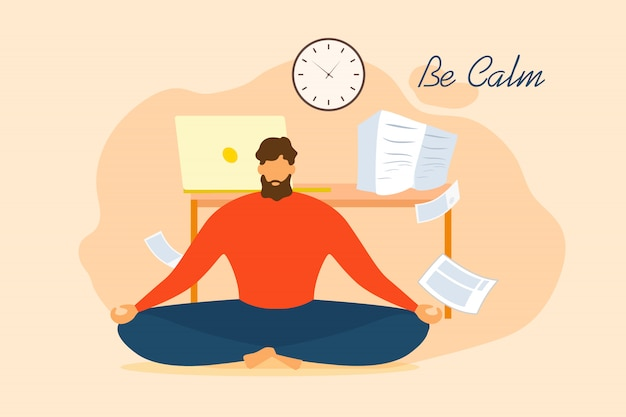 Be calm cartoon man meditate in office