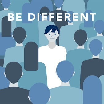 'Be different' illustration