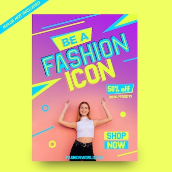 Be a fashion icon fashion sale poster template