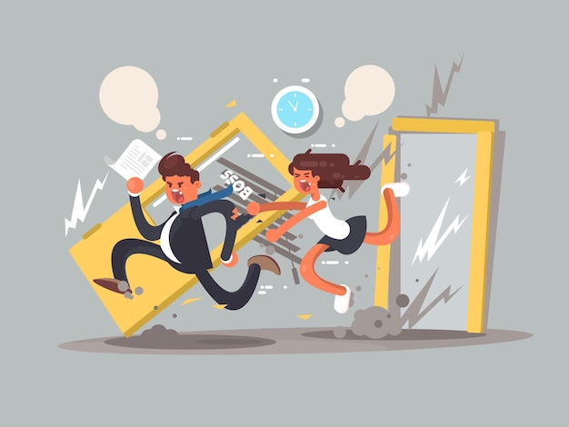 Be first concept man running fast in front emotional girl vector illustration