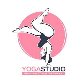 Be fit,  logo template for yoga or pilates studio with image of oversize curve lady