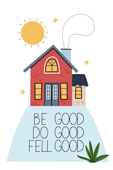 Be good red house on a high mountain cozy atmosphere light in the window starry summer sky