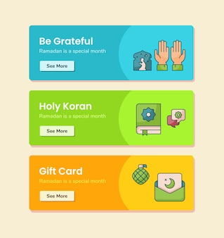 Be grateful holy koran gift card for banner template with dashed line style vector design illustration