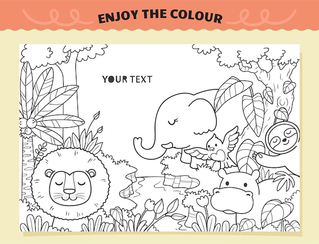 Be happy animals coloring for kids