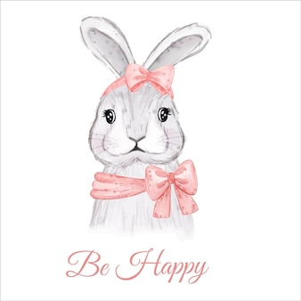 Be happy card with watercolor easter bunny