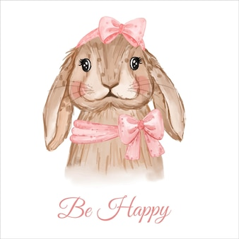 Be happy card con il coniglietto di pasqua dell'acquerello