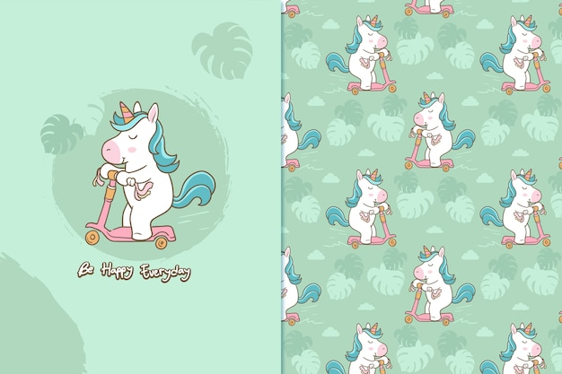Be happy everyday unicorn pattern
