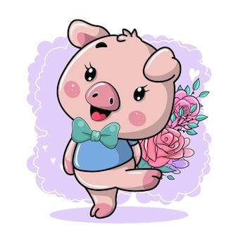 귀여운 만화 돼지와 함께 행복 인사말 카드
