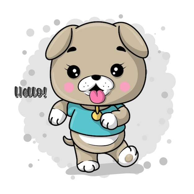 Be happy greeting card with cute cartoon puppy