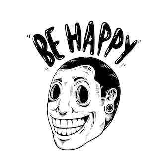 Be happy smile cartoor icon concept