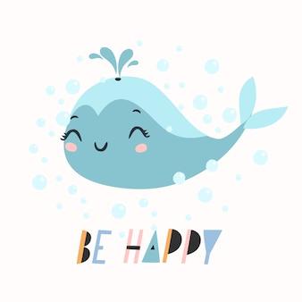 Essere felice testo con illustrazione di balena carino
