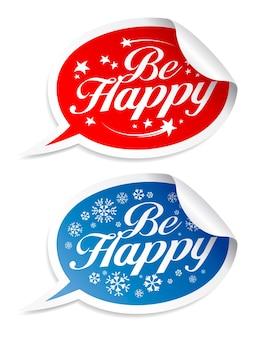 Будьте счастливы наклейки зимних праздников