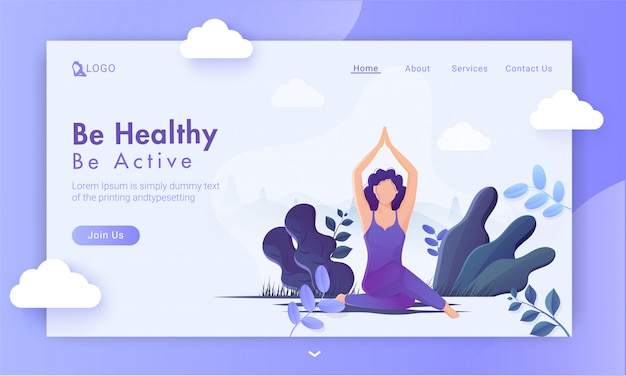 Be healthy be active  based landing page  with faceless woman practice yoga sukhasana pose on purple nature view .