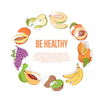 Be healthy poster with tropical fruits
