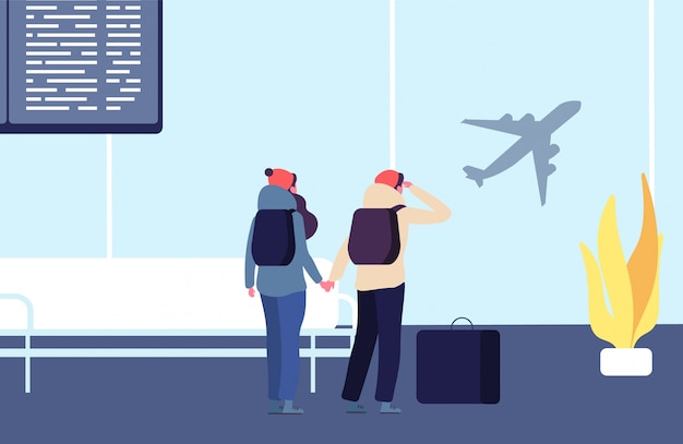 Be late for flight. passengers and flying away plane vector illustration