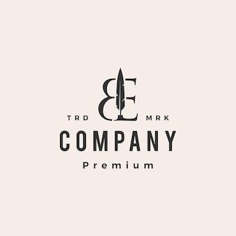 Be letter mark перо перо битник винтажный логотип шаблон
